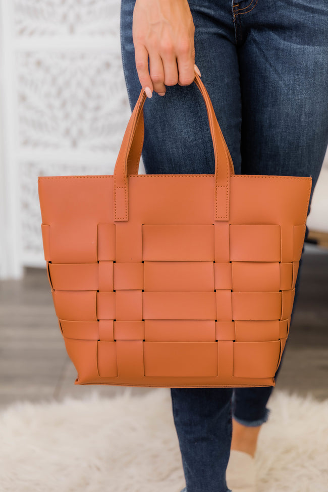 Accomplish The Day Woven Tote Brown