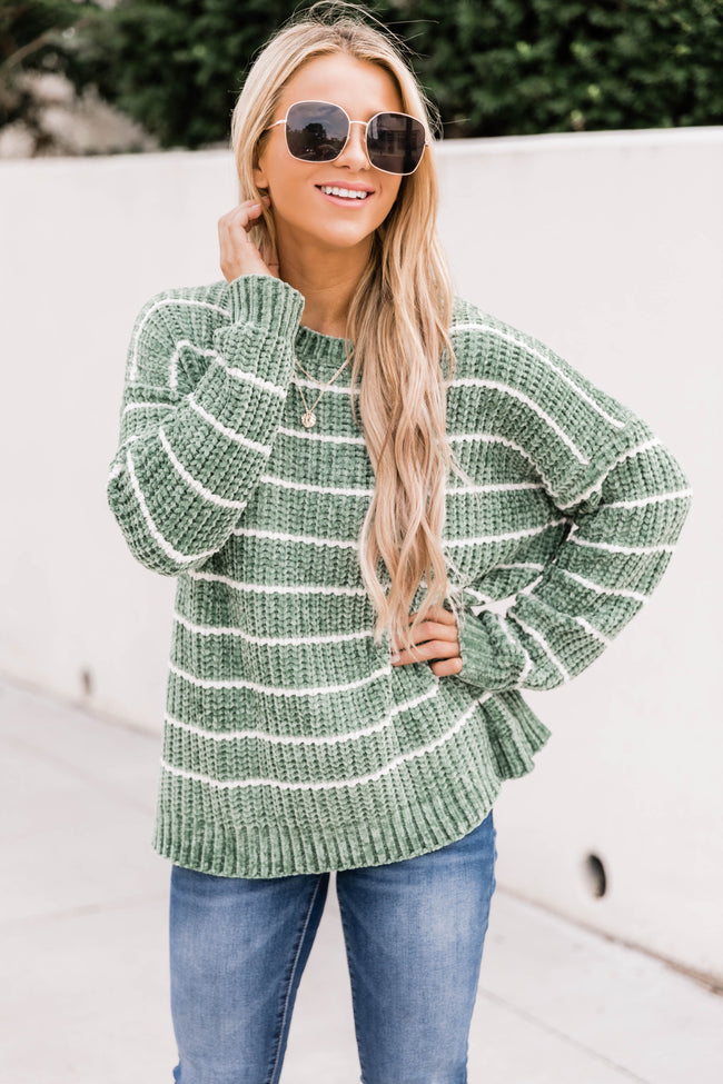 Think About It Cream/Sage Striped Sweater