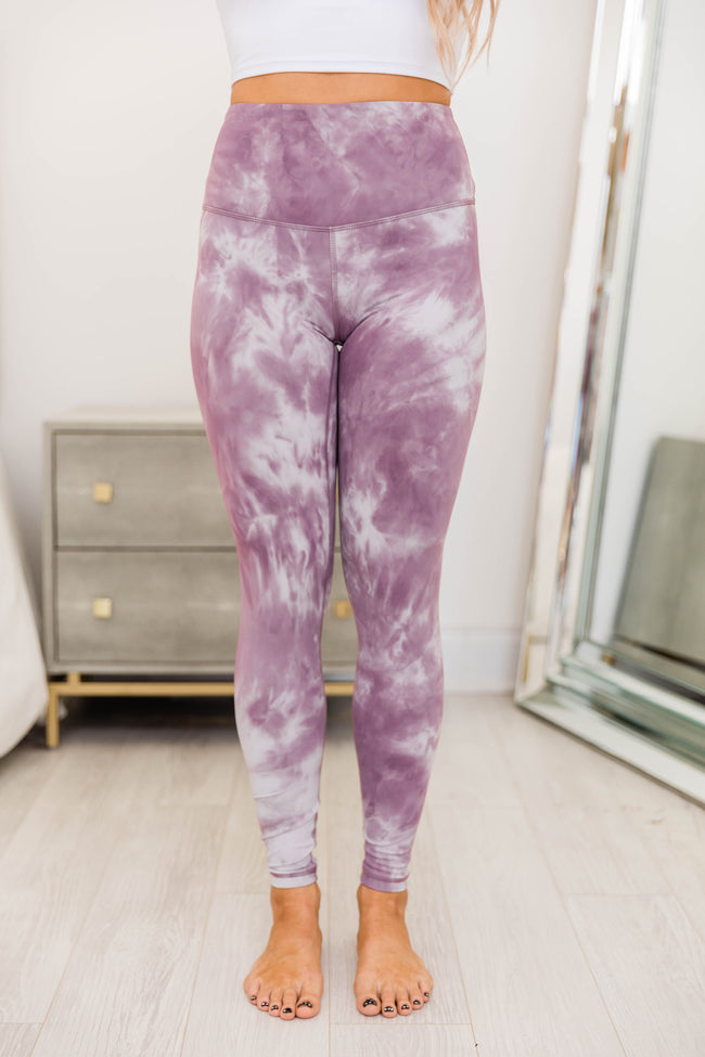 Never Giving Up Tie Dye Purple Leggings