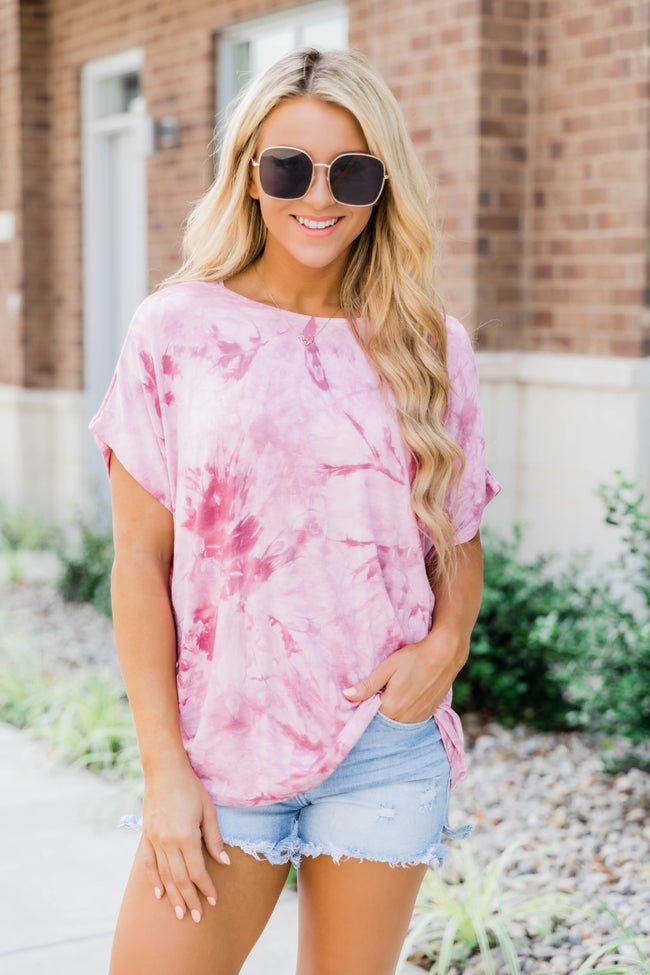The Real You Tie Dye Tee Burgundy FINAL SALE