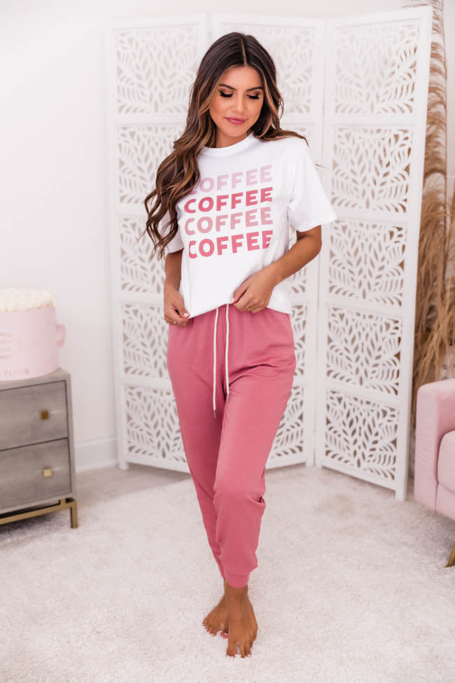Coffee Pink Ombre White Graphic Tee