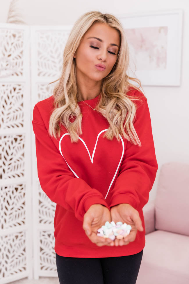 Heart Outline Red Graphic Sweatshirt