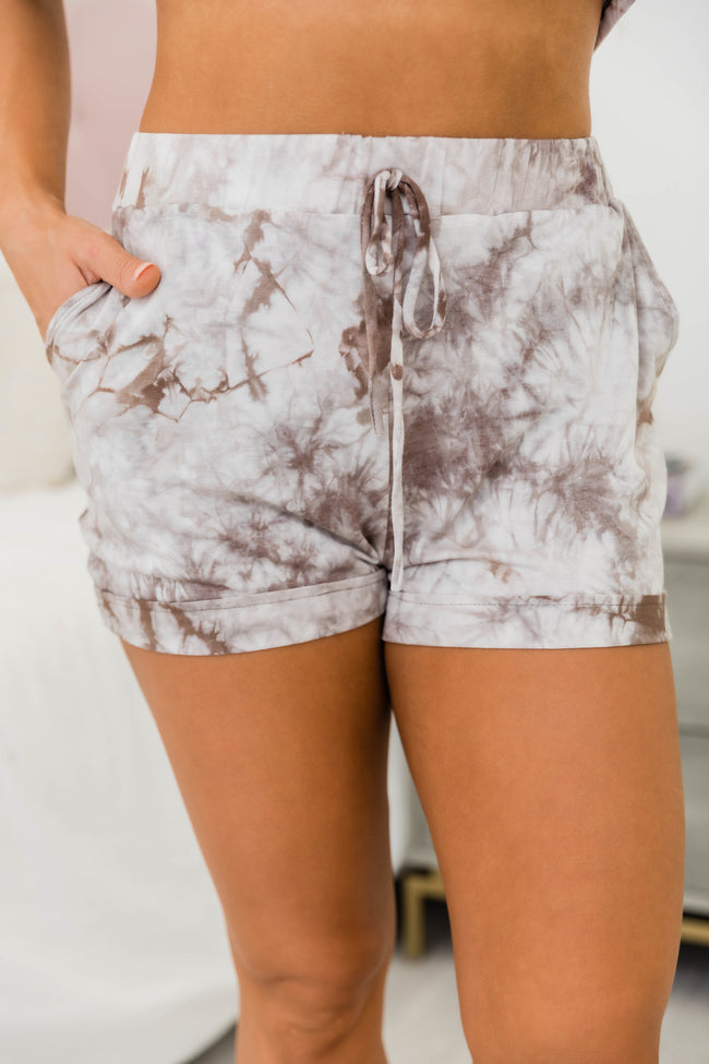 Sensational New Day Tie Dye Lounge Shorts Taupe