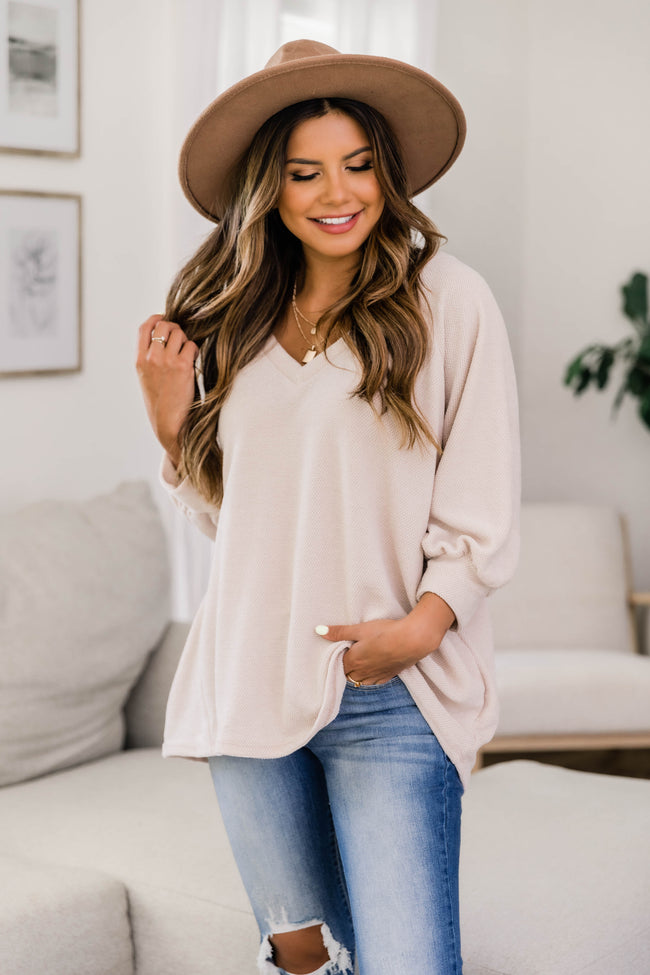 Let's Stop Wishing Balloon Sleeve Blouse Taupe