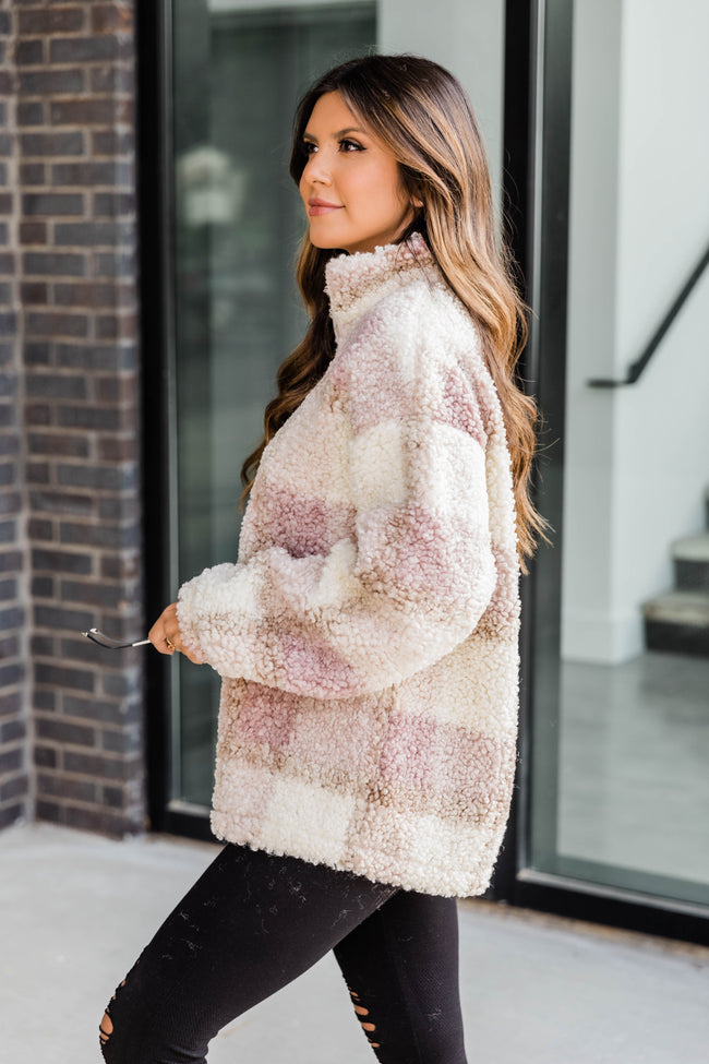 A Round Of Applause Plaid Sherpa Pink Pullover