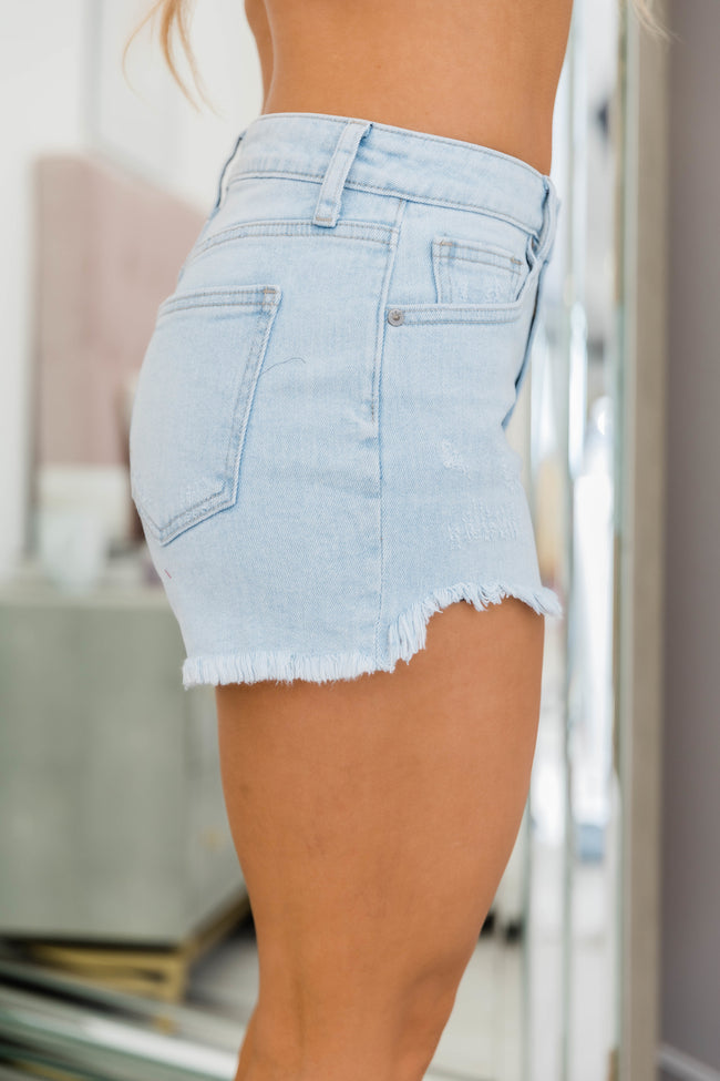 Finding Peace Of Mind High Rise Shorts Light Wash