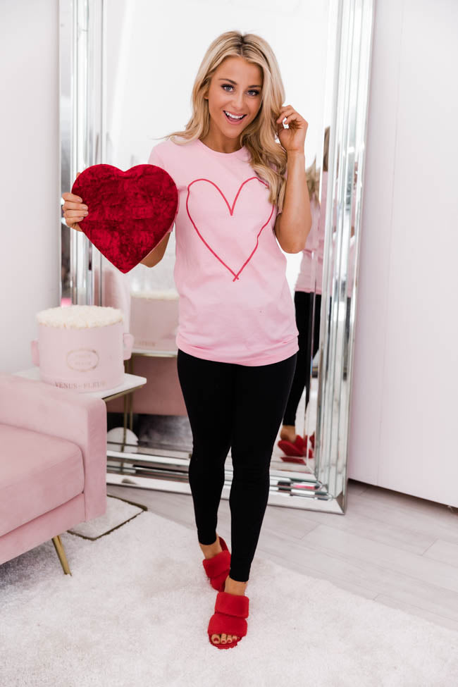 Heart Outline Light Pink Graphic Tee