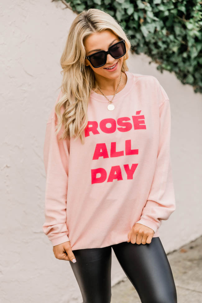 Rose` All Day Pink Corded Graphic Sweatshirt