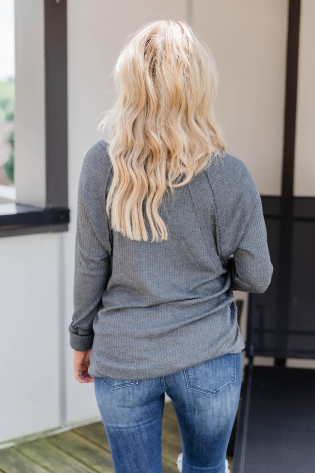 LIVING MY BEST STYLE X PINK LILY The Emmy Lou Dark Grey Blouse