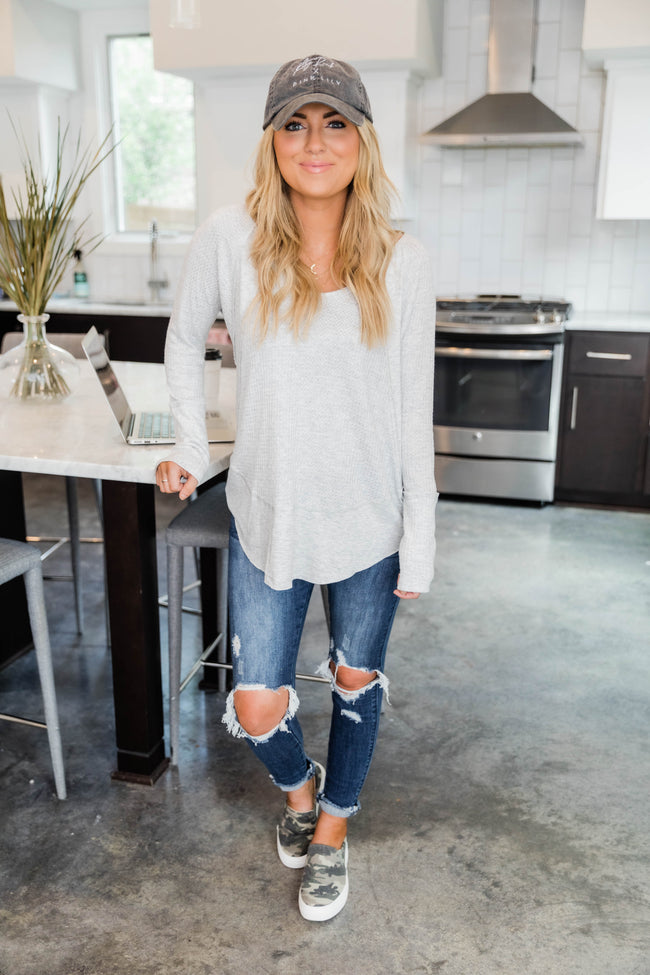 LIVING MY BEST STYLE X PINK LILY The Emmy Lou Light Grey Blouse