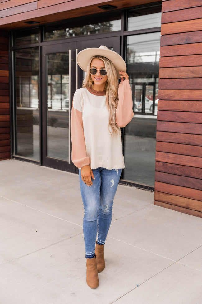 Peachy Keen Colorblock Sweater
