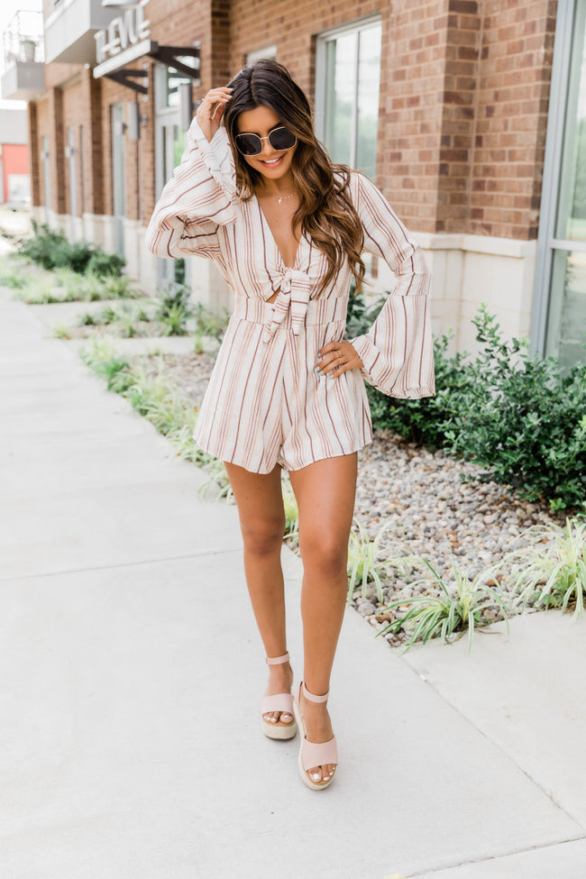 A Loving Heart Striped Romper Brown