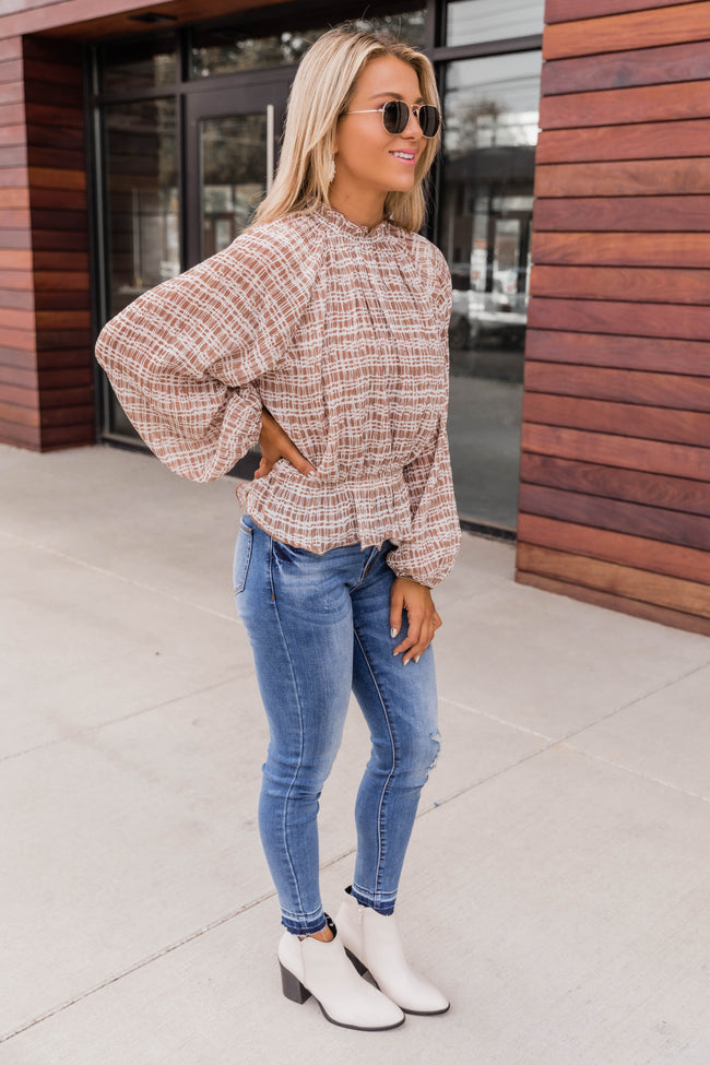 Fearless Confidence Printed Peplum Tan Blouse