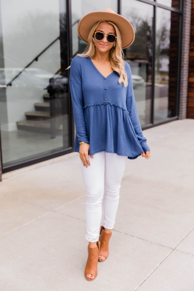 So Perfectly Yours Blue Blouse