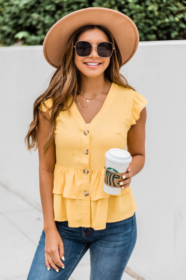 Admit My Love To You Mustard Blouse FINAL SALE