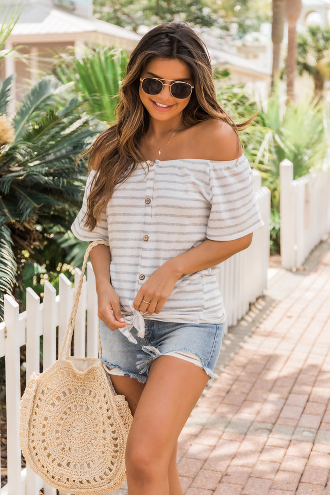 Coffee Dates Striped Blouse Ivory/Grey