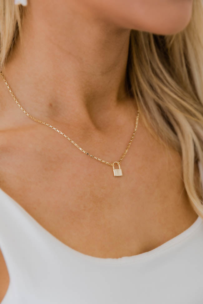 Undeniable Romance Gold Lock Necklace