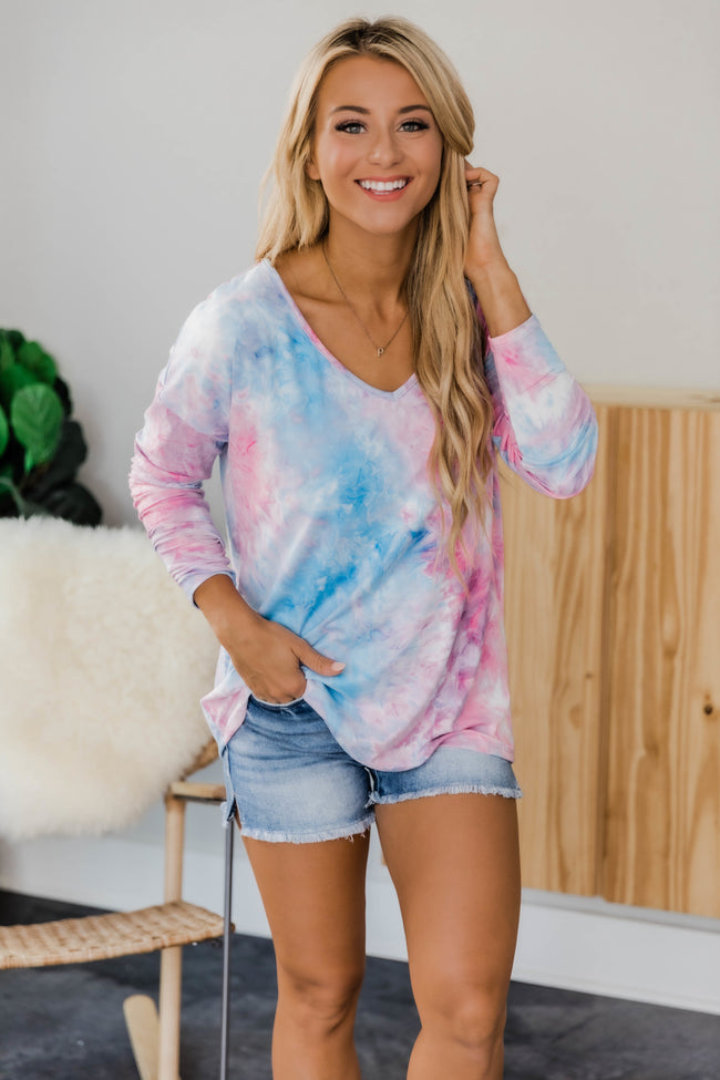 Have The Best Day Tie Dye Blouse Pink/Blue