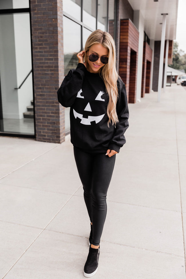 Jack O Lantern Lady Graphic Black Sweatshirt
