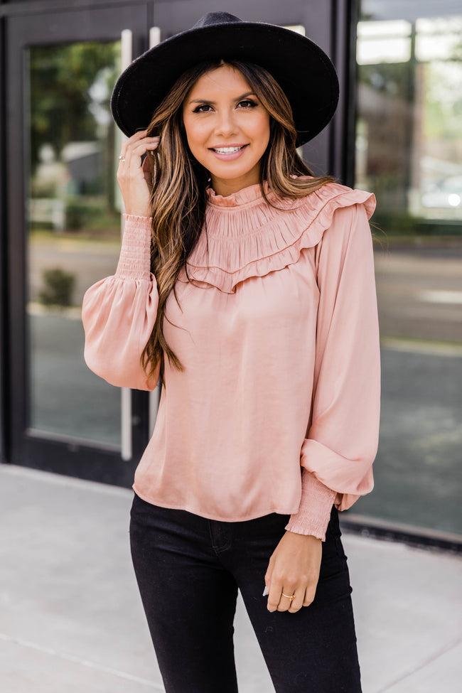 A Night Away Satin Blouse Blush