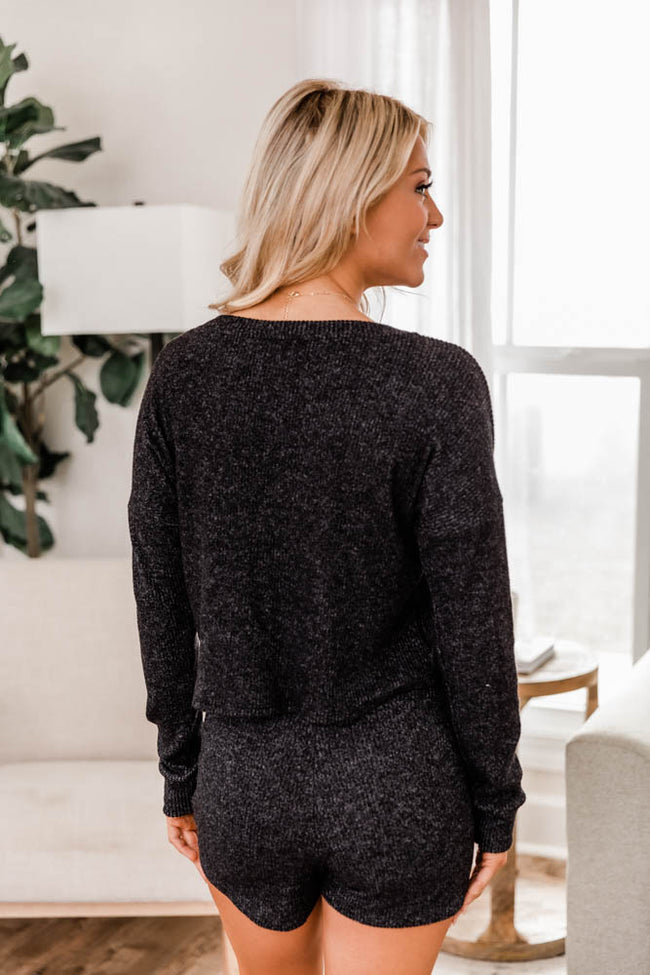 Staying Home Black Blouse