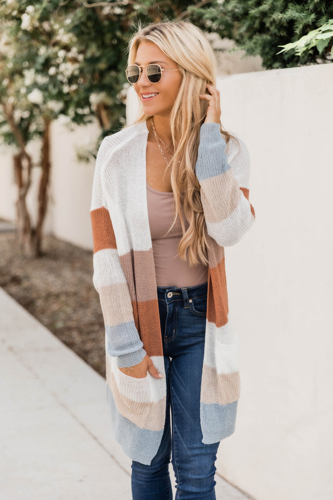 More Than Words Open Knit Striped Cardigan