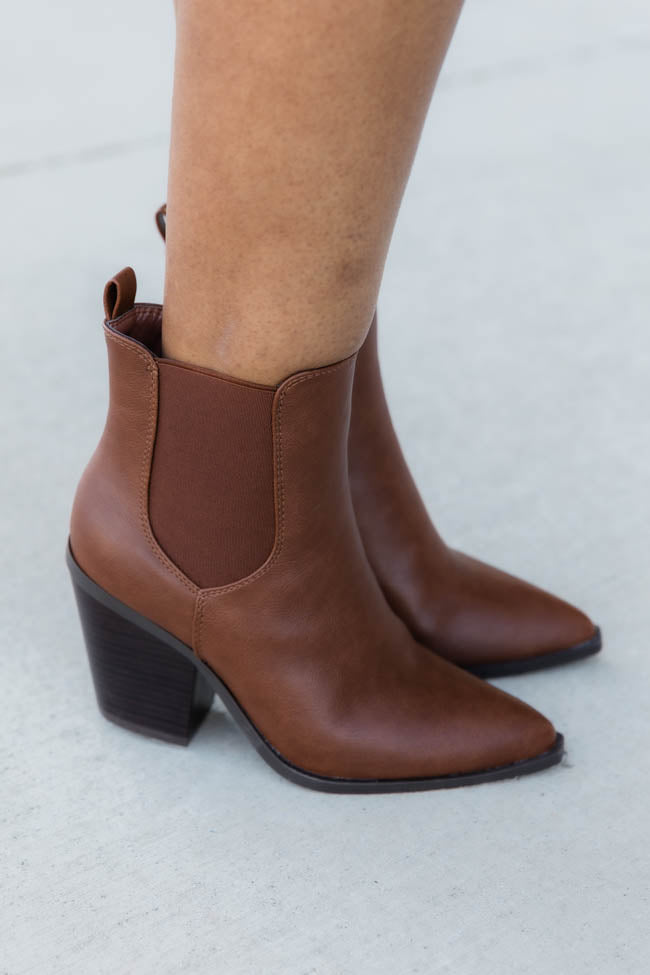Linda High Ankle Brown Booties