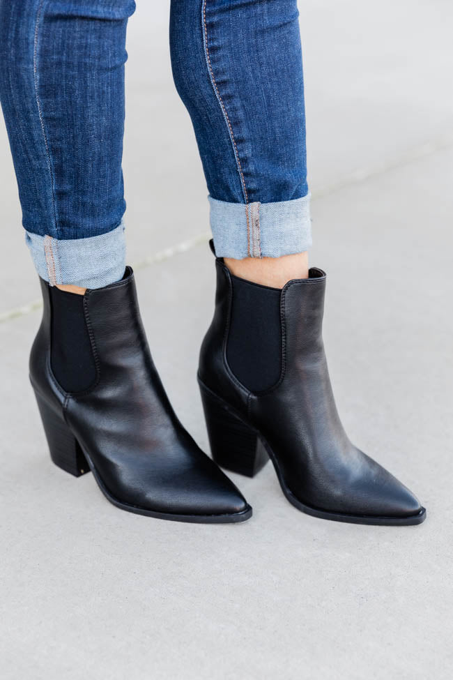 Linda High Ankle Black Booties FINAL SALE