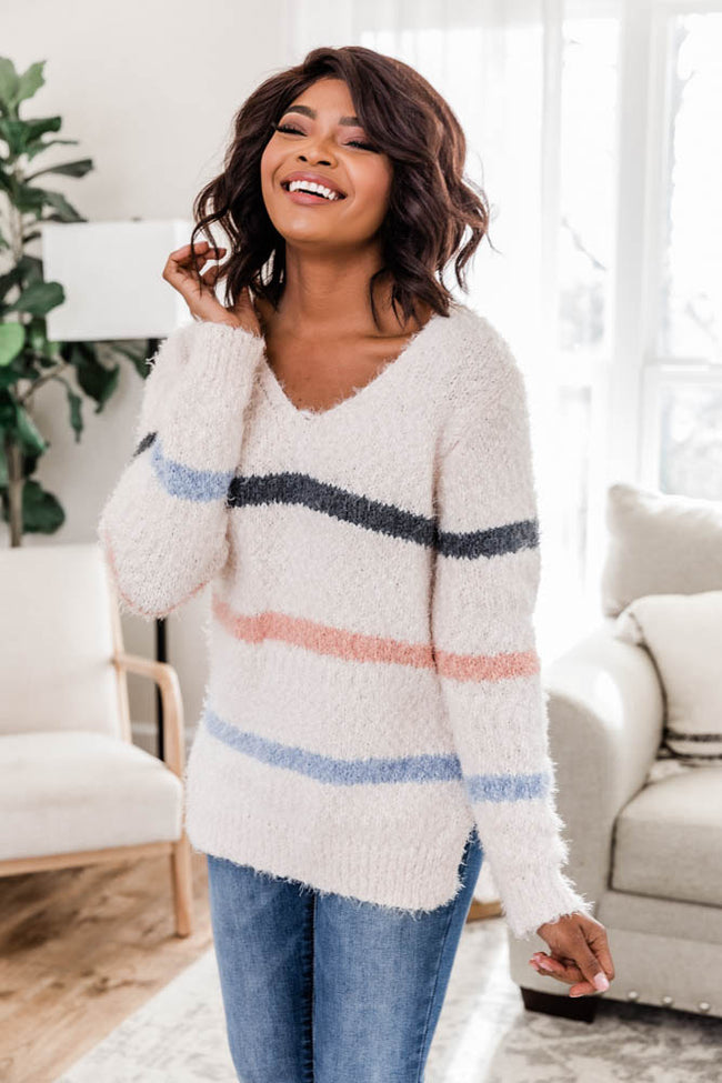 Peaceful Heart Striped Ivory Sweater FINAL SALE