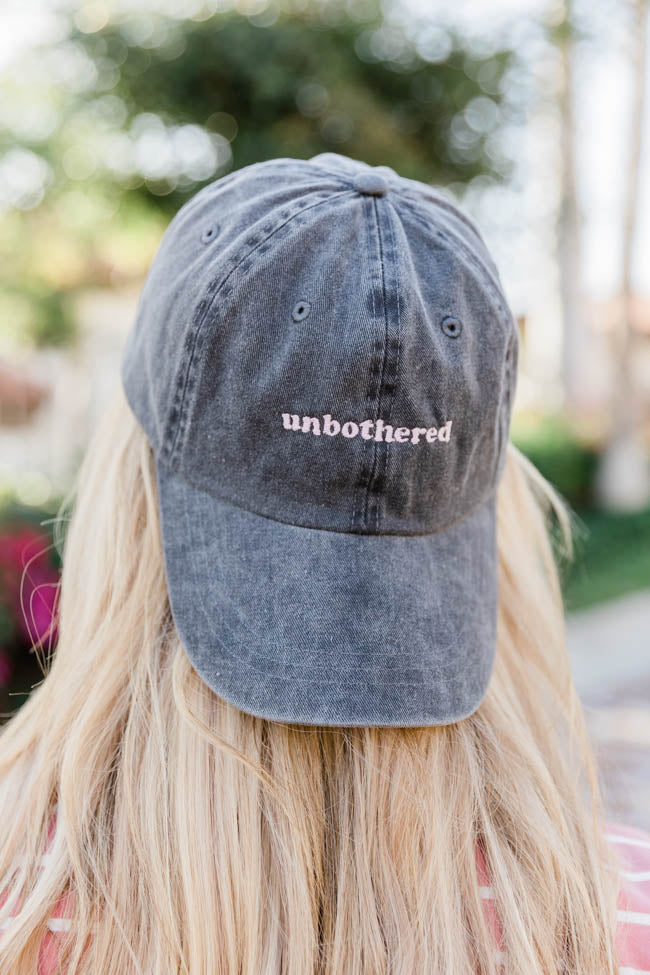 Unbothered Embroidered Baseball Charcoal Cap