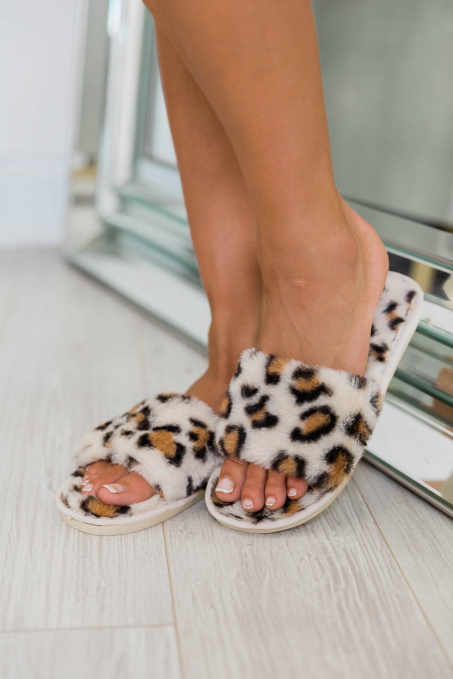 Sleeping In Animal Print Beige Slippers