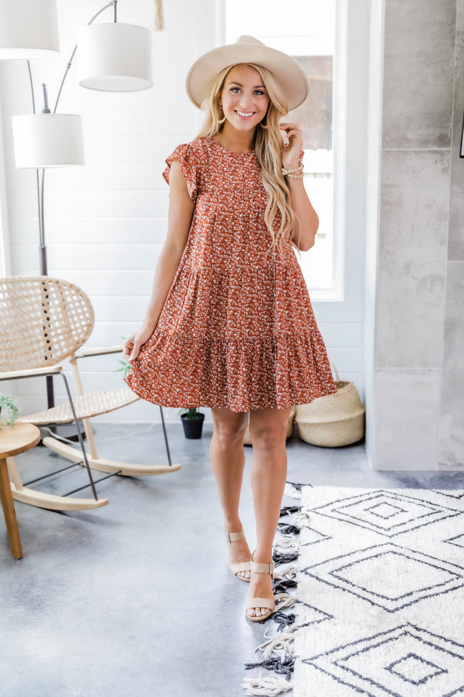 Complete My Heart Rust Floral Dress