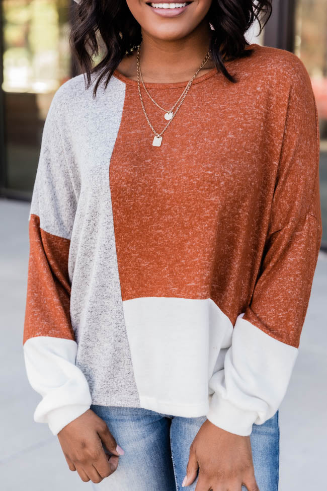 Be Close To You Rust Colorblock Blouse CLEARANCE
