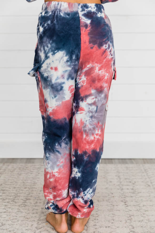 Find A Passion Tie Dye Blue/Red Joggers