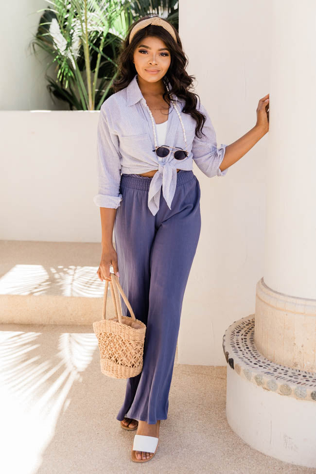 Striking Beauty Ivory/Blue Blouse