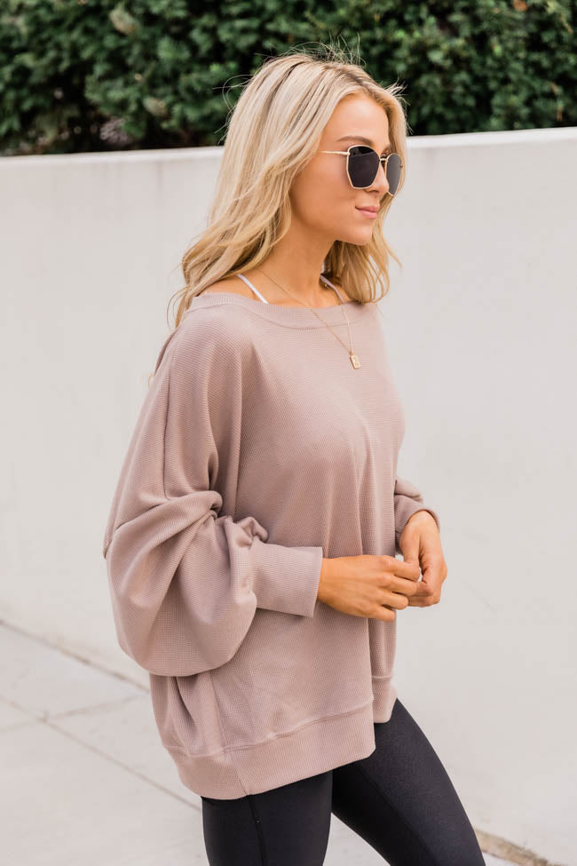 Keep Your Promise Taupe Blouse