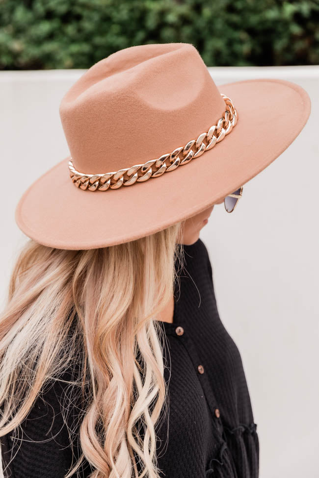 Speechless Entrance Taupe Wide Brim Fedora Hat