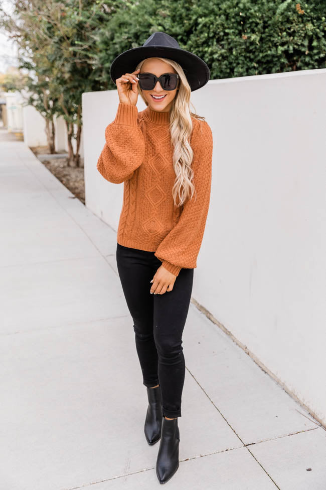 Losing Time Mock Neck Rust Sweater FINAL SALE