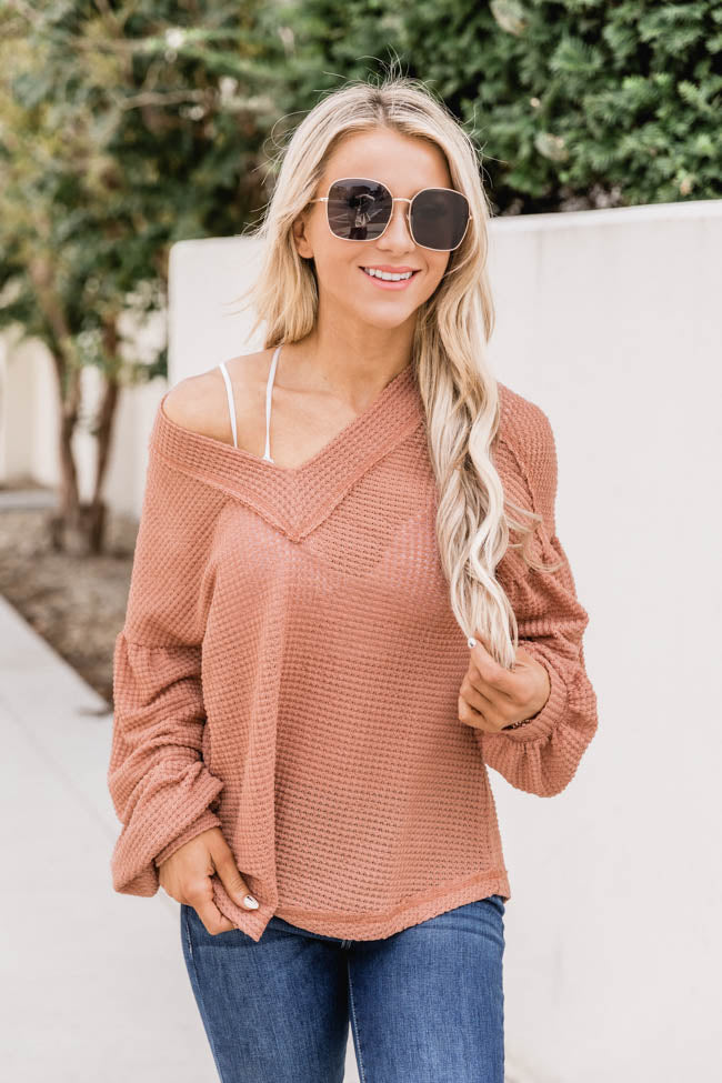 Curious About You Waffle Knit Rust Blouse CLEARANCE