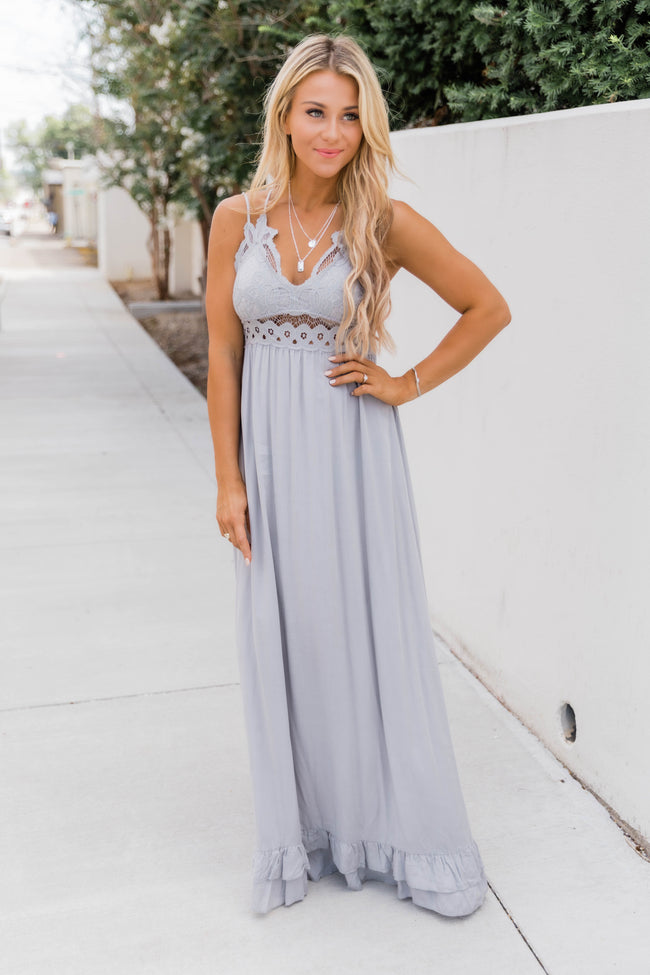 Such A Delight Grey Lace Maxi Dress