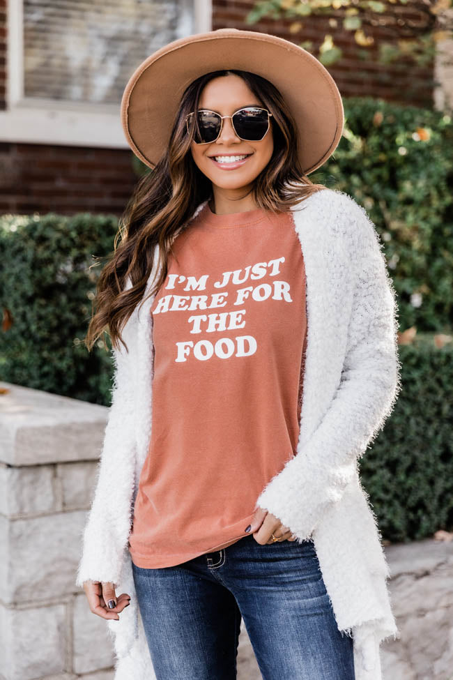 I'm Just Here For The Food Graphic Burnt Orange Tee