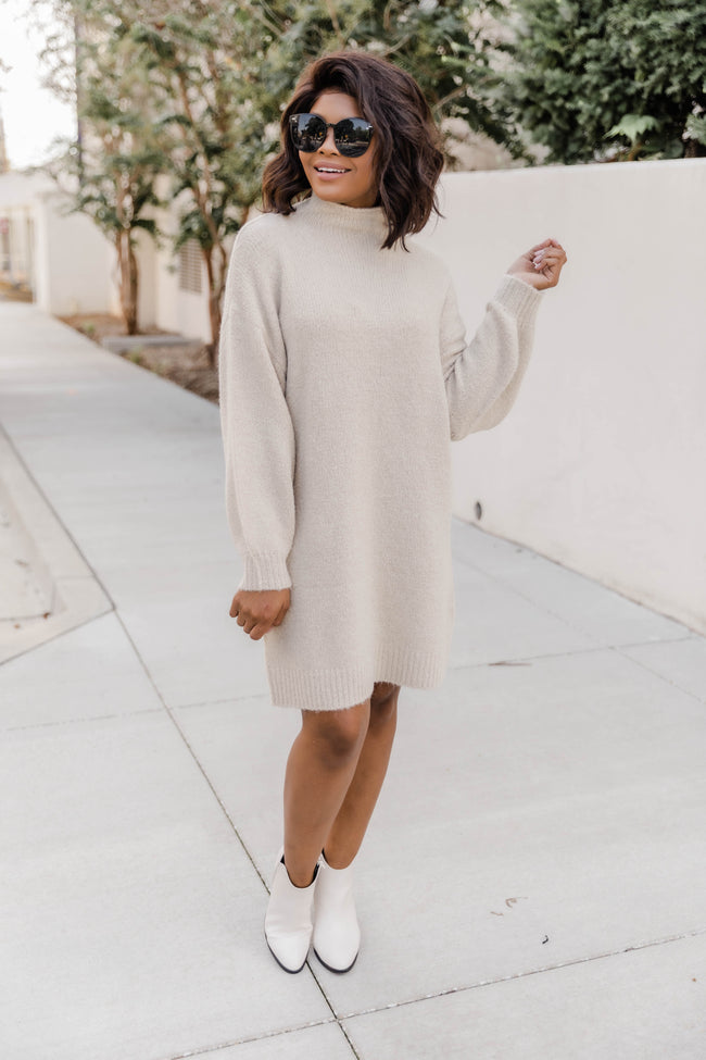 We Owned The Night Sweater Dress Beige