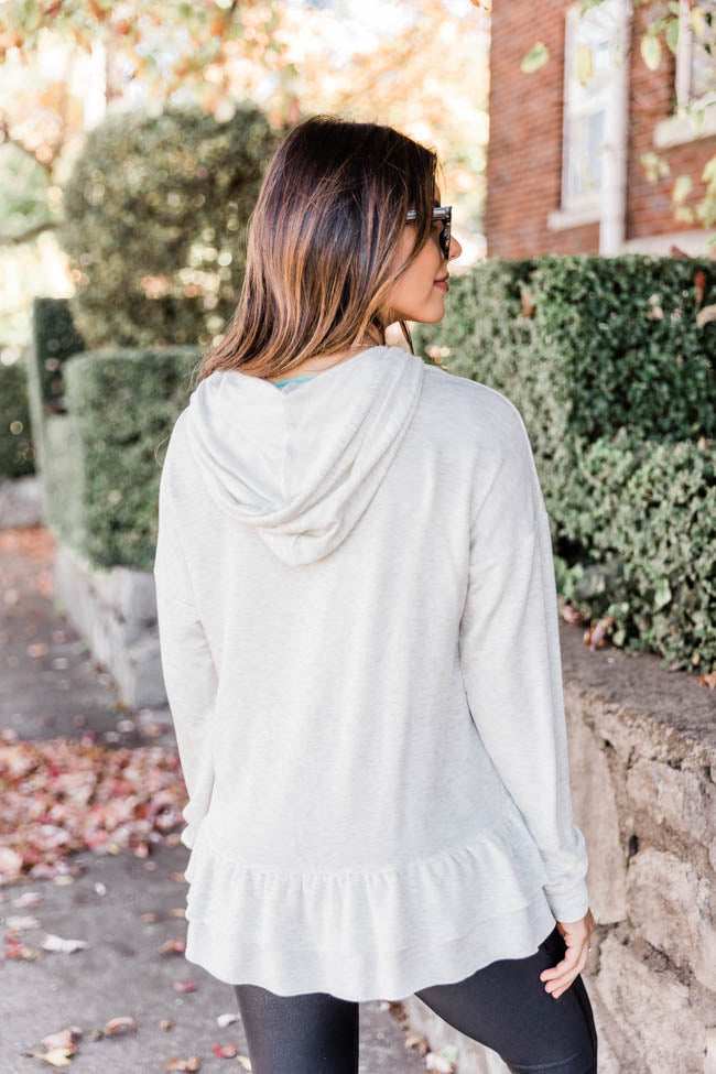 See You Clearly Oatmeal Peplum Hoodie