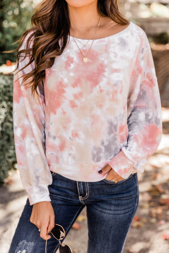 A Perfect Muse Tie Dye Coral Pullover