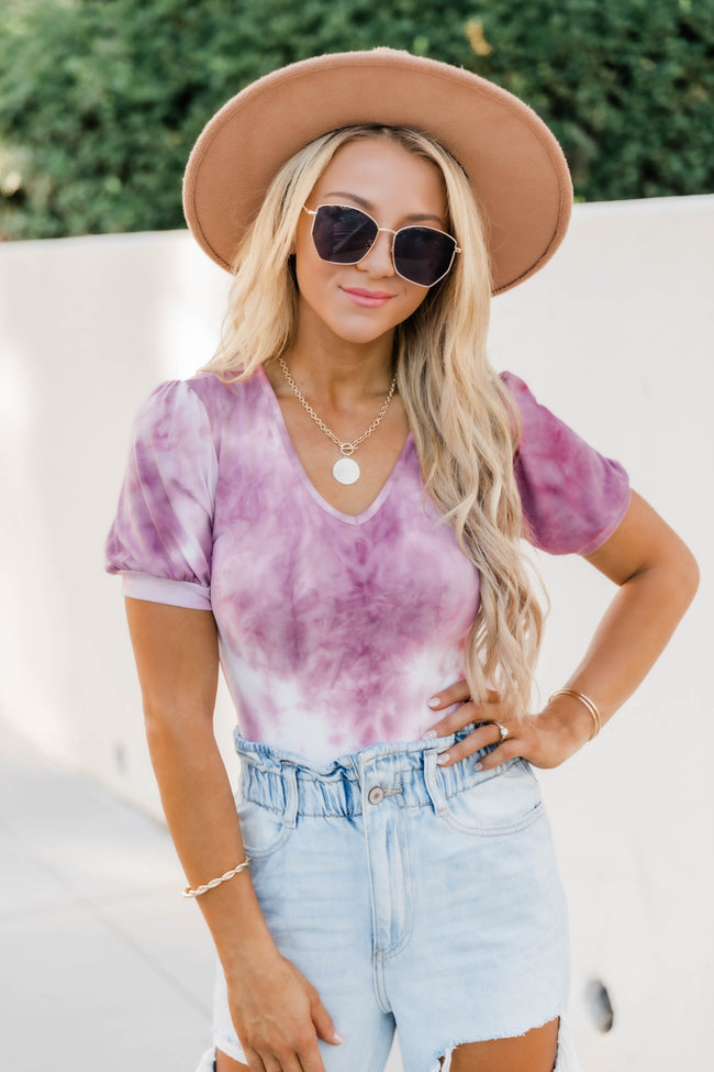 Blow A Kiss Tie Dye Burgundy Bodysuit FINAL SALE