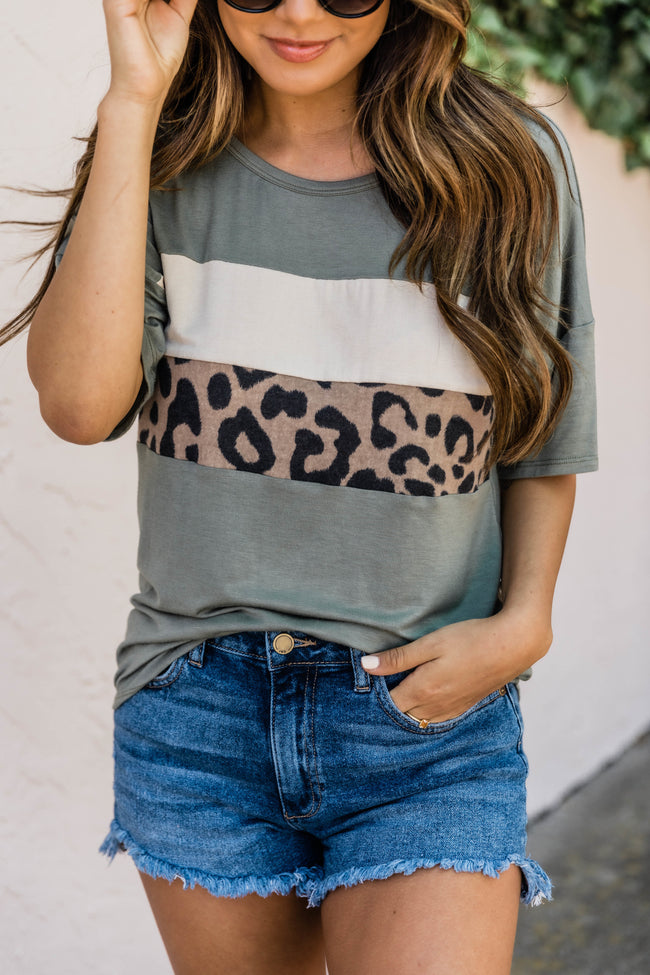 Living Wild Leopard/Olive Detail Tee