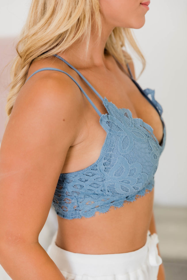 So This Is Love Slate Lace Bralette