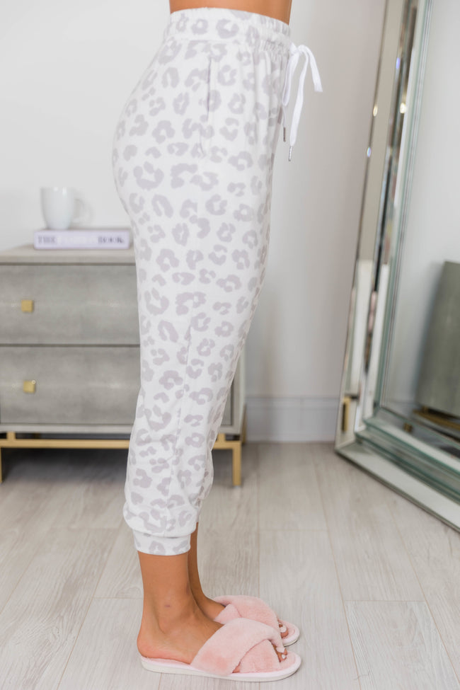 Speechless Beauty Animal Print Joggers Grey