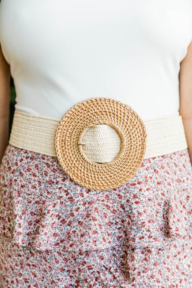 CAITLIN COVINGTON X PINK LILY The Kennedy Circle Buckle Rattan Tan Belt