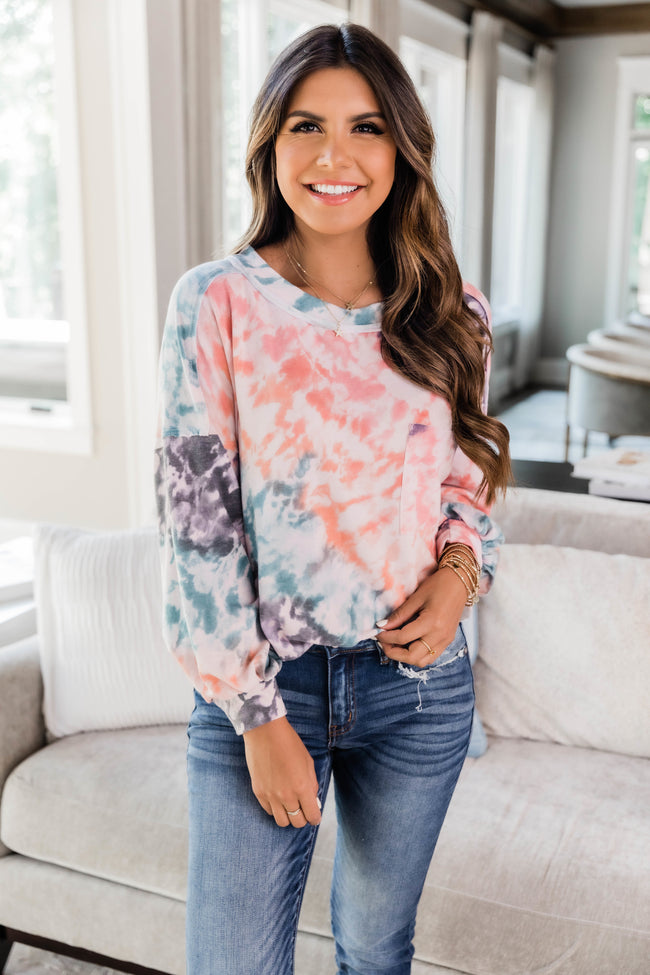 Clever Twist Tie Dye Pullover Orange FINAL SALE